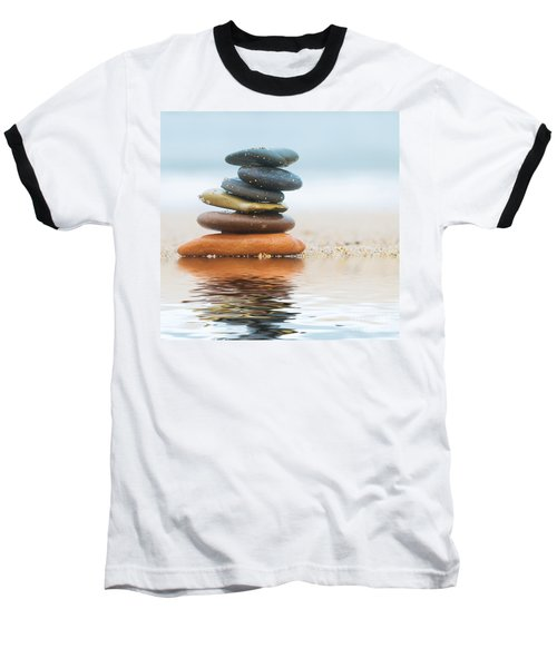 Stack Of Beach Stones On Sand Baseball T-Shirt
