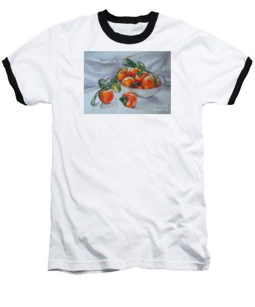 Baseball T-Shirt featuring the painting Summer Harvest  1 Persimmon Diospyros by Sandra Phryce-Jones