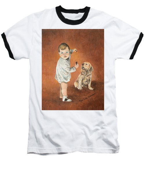 Baseball T-Shirt featuring the painting The Guilty Ones by Mary Ellen Anderson