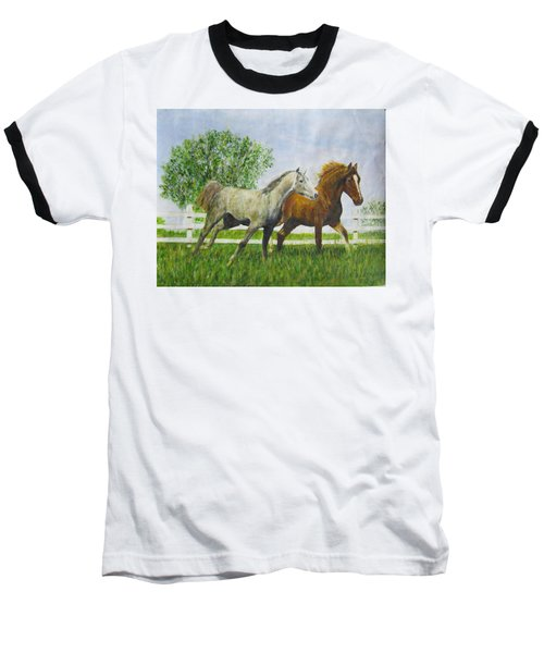 Two Horses Running By White Picket Fence Baseball T-Shirt