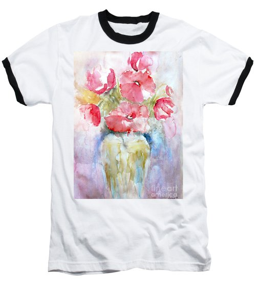 Baseball T-Shirt featuring the painting Poppies by Jasna Dragun