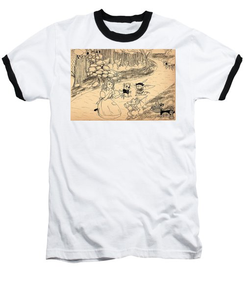 Baseball T-Shirt featuring the drawing Tammy  Meets Cedric The Mongoose by Reynold Jay