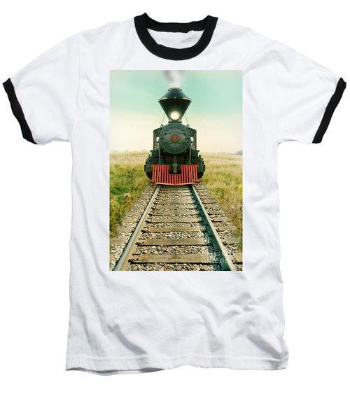 Vintage Train Engine Baseball T-Shirt