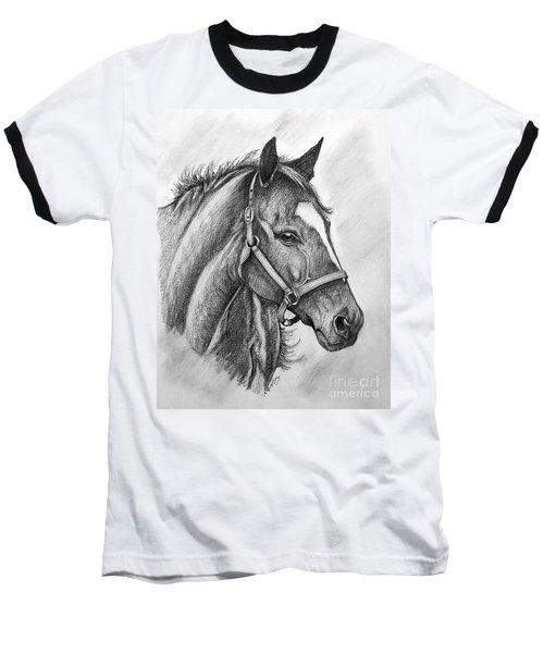 Baseball T-Shirt featuring the drawing Zenyatta by Patrice Torrillo