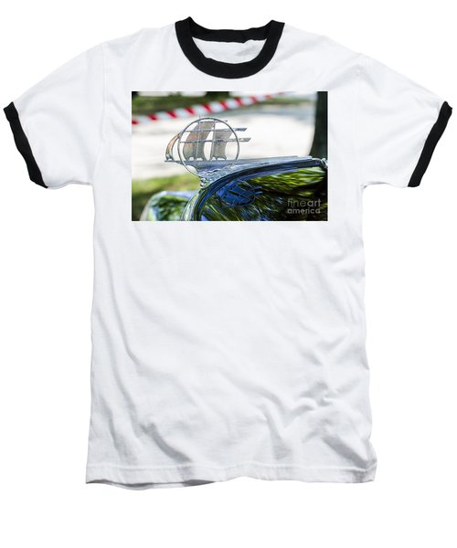 Baseball T-Shirt featuring the photograph '34 Plymouth Sedan Hood Ornament by Paul Mashburn