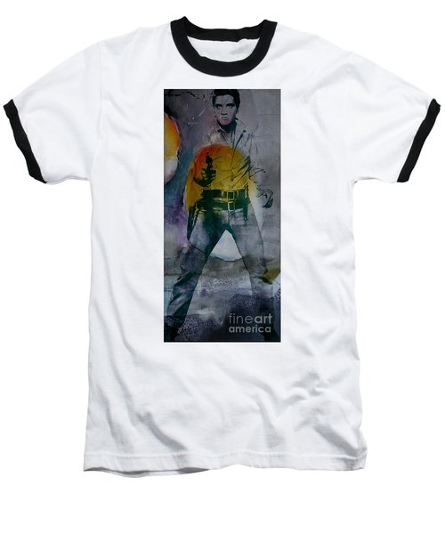 Baseball T-Shirt featuring the mixed media Elvis by Marvin Blaine