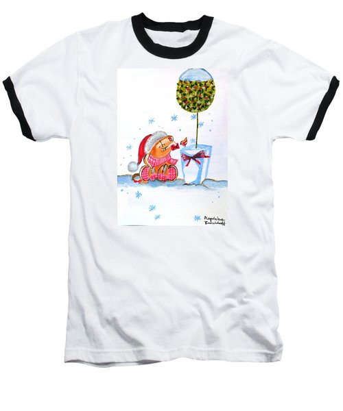 Baseball T-Shirt featuring the painting Merry Christmas by Magdalena Frohnsdorff