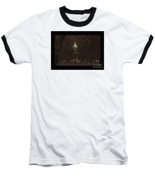 Notre Dame Golden Dome Snow Poster Baseball T-Shirt by John Stephens