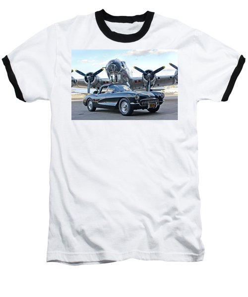 1957 Chevrolet Corvette Baseball T-Shirt by Jill Reger