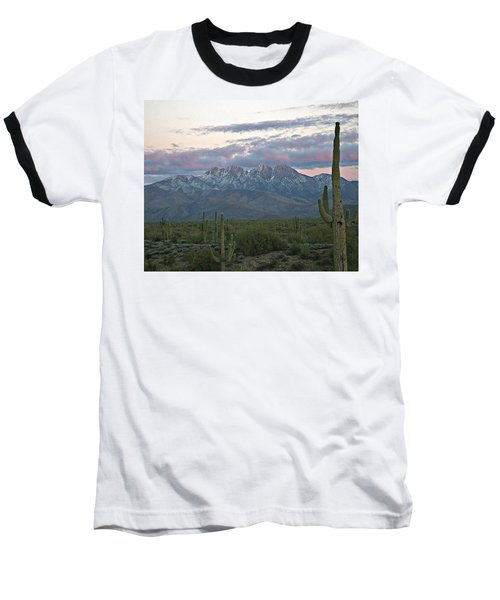 Four Peaks Sunset Snow Baseball T-Shirt