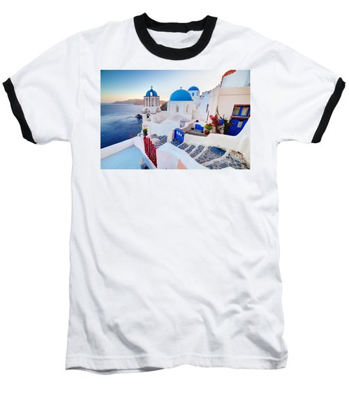 Oia Town On Santorini Greece Baseball T-Shirt