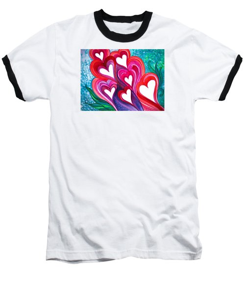 Baseball T-Shirt featuring the photograph 7 Hearts by Adria Trail