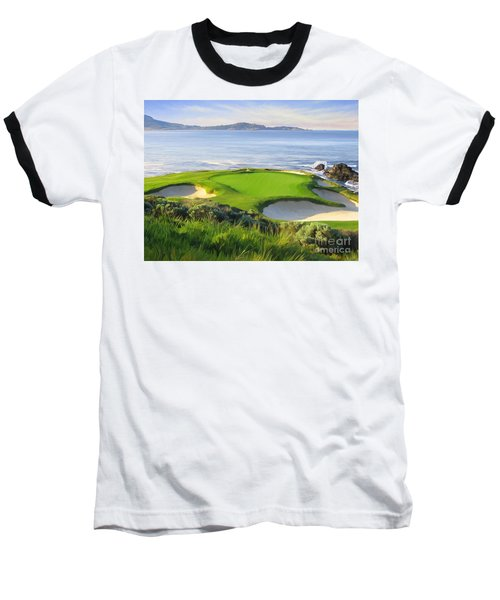 7th Hole At Pebble Beach Baseball T-Shirt by Tim Gilliland