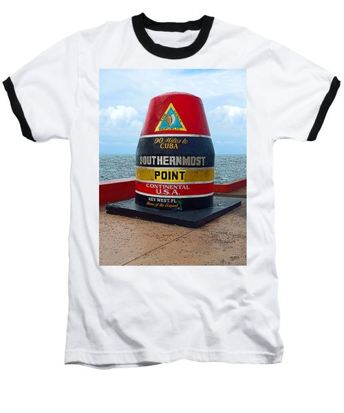Southernmost Point Key West - 90 Miles To Cuba Baseball T-Shirt by Rebecca Korpita