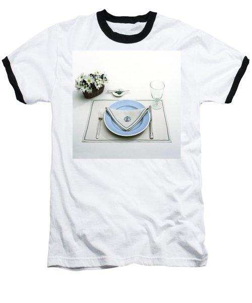 A Blue Table Setting Baseball T-Shirt
