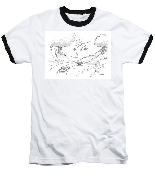 A Car On A Winding Road Heads For A Straight Road Baseball T-Shirt