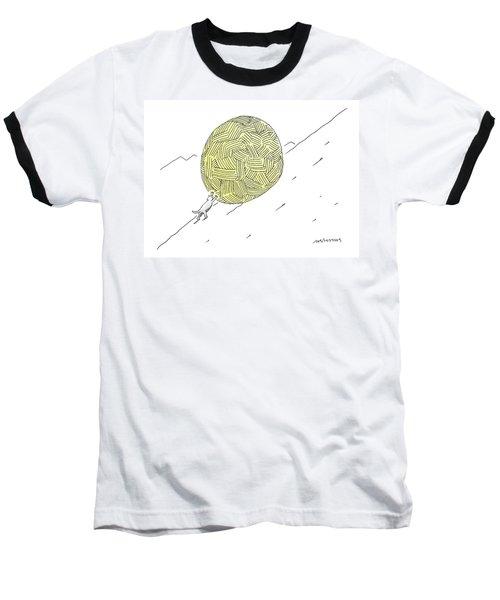 A Cat Pushes A Ball Of Yarn/string Up A Hill Like Baseball T-Shirt