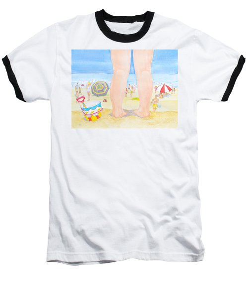 Baseball T-Shirt featuring the painting A Child Remembers The Beach by Michele Myers