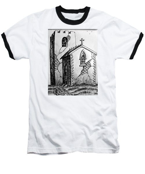 Old Church Baseball T-Shirt by Salman Ravish