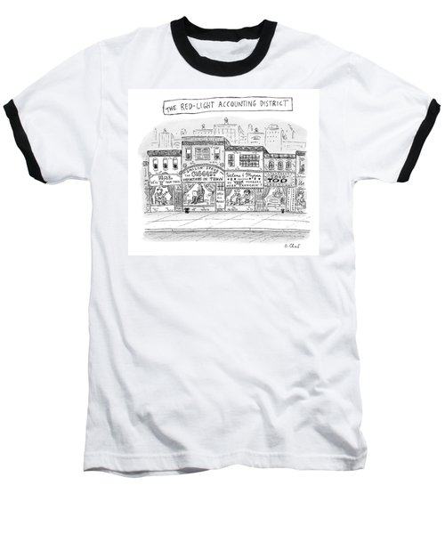A City Block Is Full Of Buildings With Glass Baseball T-Shirt