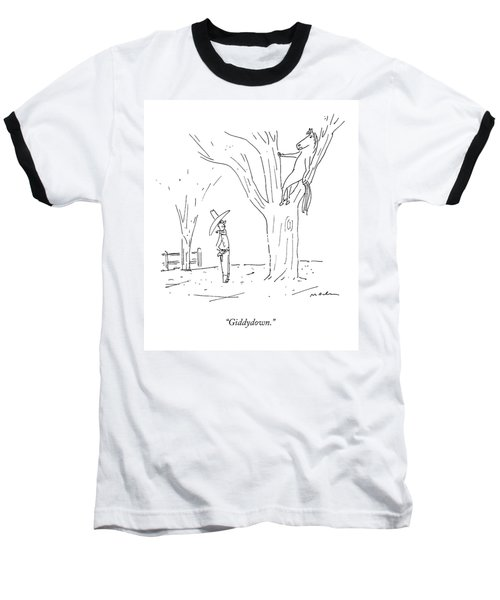 A Cowboy Talks To His Horse In A Tree Baseball T-Shirt
