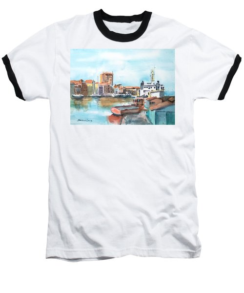 A Curacao Morning Baseball T-Shirt by Debbie Lewis