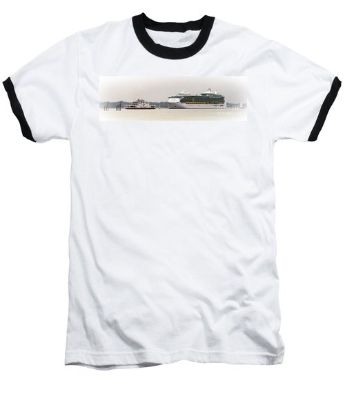 A Ferry A Ship And Some Yachts Baseball T-Shirt by Linsey Williams