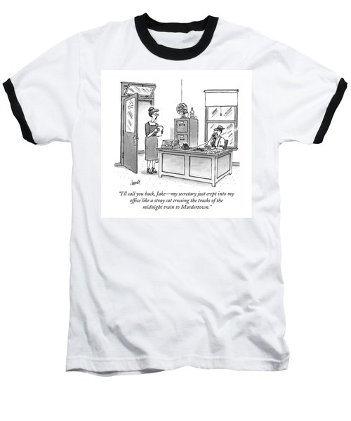 A Film Noir Detective Speaks On The Phone Baseball T-Shirt