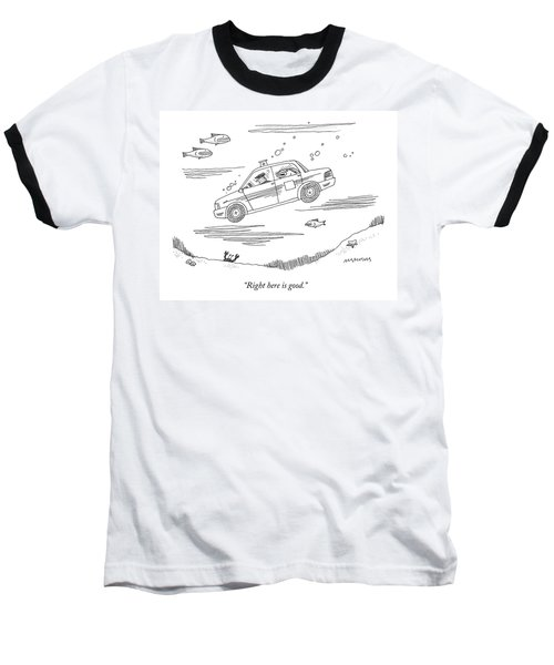 A Fish Rides In The Back Seat Of A Taxi Cab Baseball T-Shirt