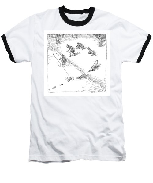 A Fisherman Wading In The Water  Catches A Fish Baseball T-Shirt