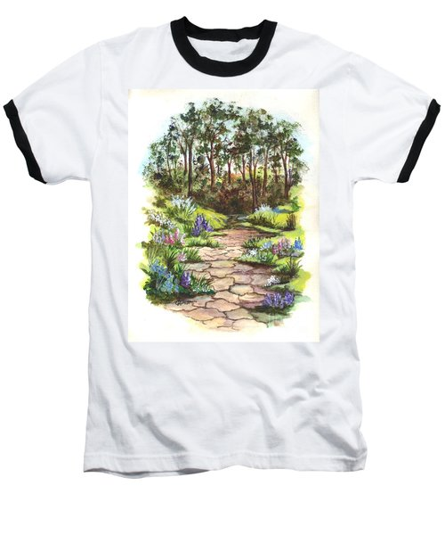 Baseball T-Shirt featuring the painting Down The Garden Pathway  by Carol Wisniewski