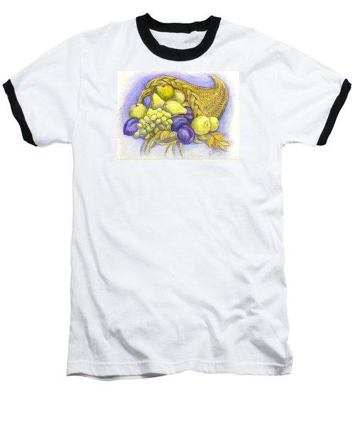 Baseball T-Shirt featuring the painting A Fruitful Horn Of Plenty by Carol Wisniewski