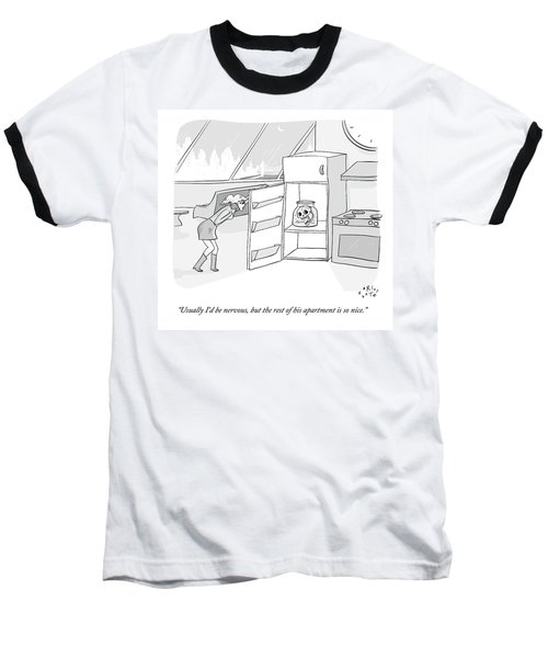 A Girl Who Is Talking On The Phone Opens A Fridge Baseball T-Shirt