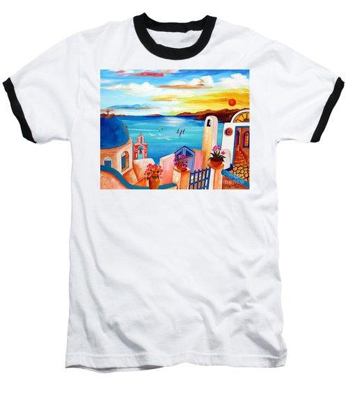 A Greek Seaview Baseball T-Shirt