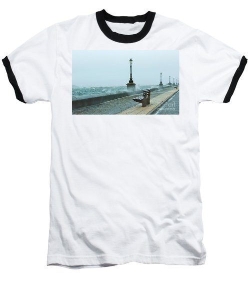 A Grey Wet Day By The Sea Baseball T-Shirt by Katy Mei