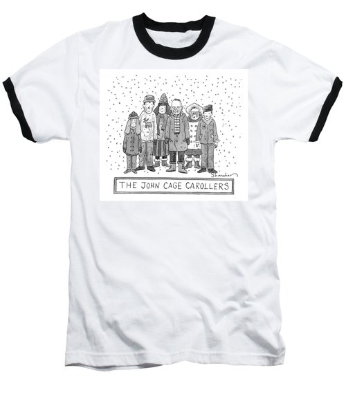 A Group Of Carolers Stands In The Snow Baseball T-Shirt