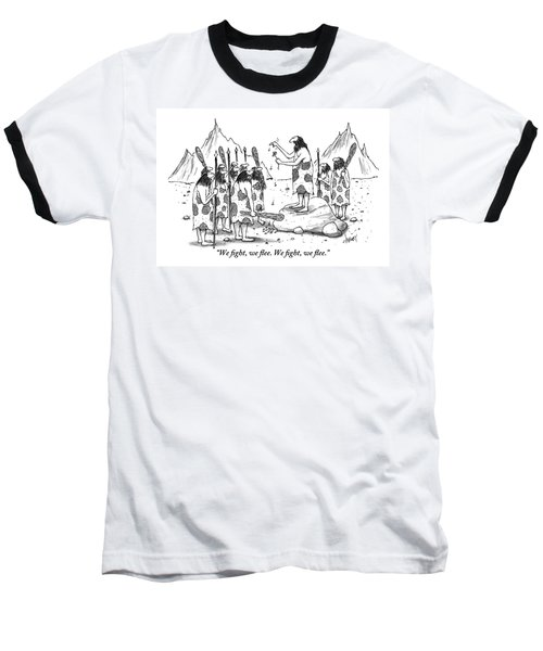 A Group Of Cavemen Gather Around A Leader Baseball T-Shirt