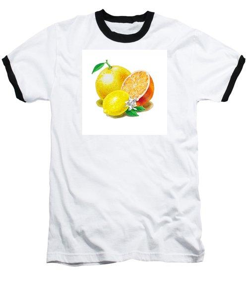 Baseball T-Shirt featuring the painting A Happy Citrus Bunch Grapefruit Lemon Orange by Irina Sztukowski