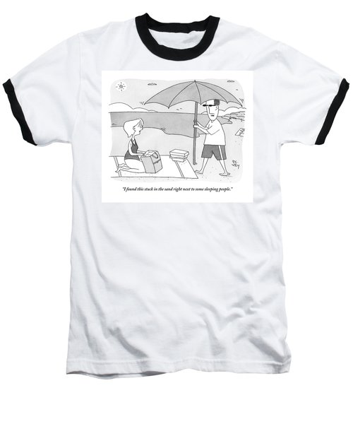 A Husband Returns To His Wife At The Beach Having Baseball T-Shirt