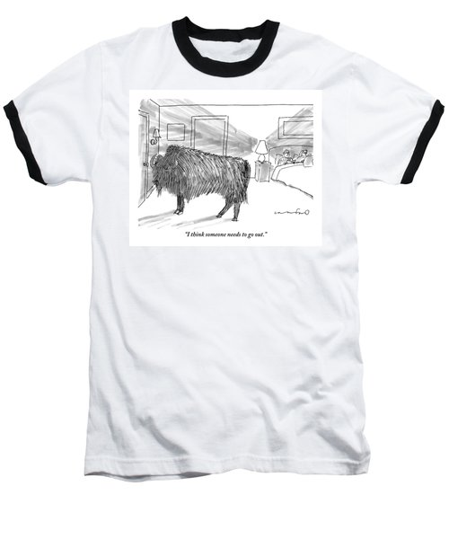 A Large Buffalo Stands Near The Door Baseball T-Shirt