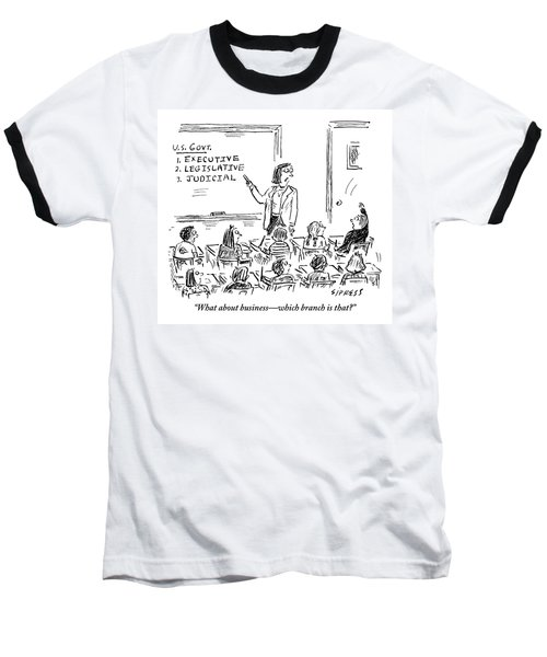 A Little Boy Asks His Teacher In The Classroom Baseball T-Shirt