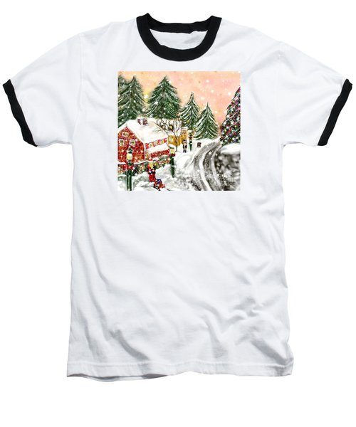 Baseball T-Shirt featuring the painting A Magical Frost by Lori  Lovetere