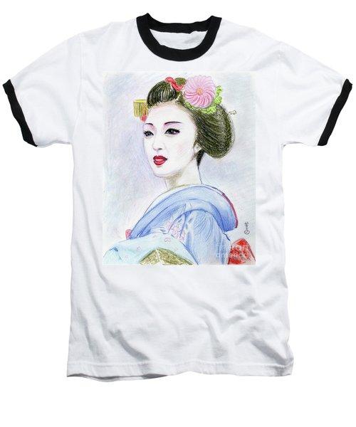 Baseball T-Shirt featuring the drawing A Maiko  Girl by Yoshiko Mishina