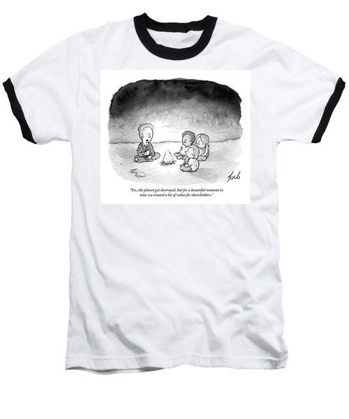 A Man And 3 Children Sit Around A Fire Baseball T-Shirt