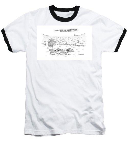A Man And A Woman Lie Down On Reclined Beach Baseball T-Shirt