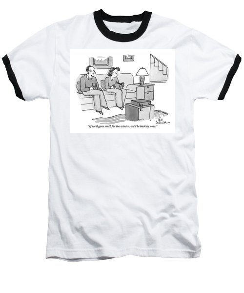 A Man And Woman Are Seen Speaking On A Couch Baseball T-Shirt