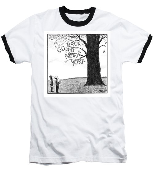 A Man And Woman Look At A Single Tree In A Field Baseball T-Shirt