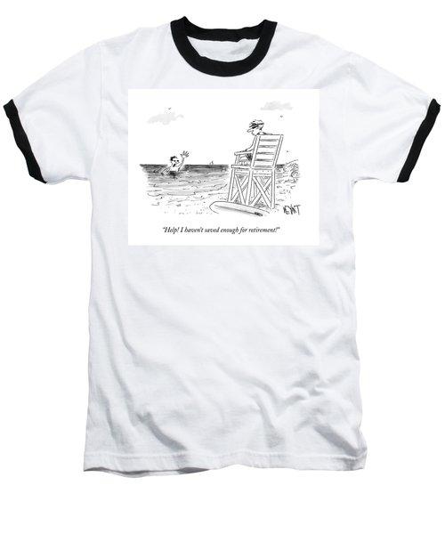 A Man Drowning In The Ocean Waves Towards Baseball T-Shirt
