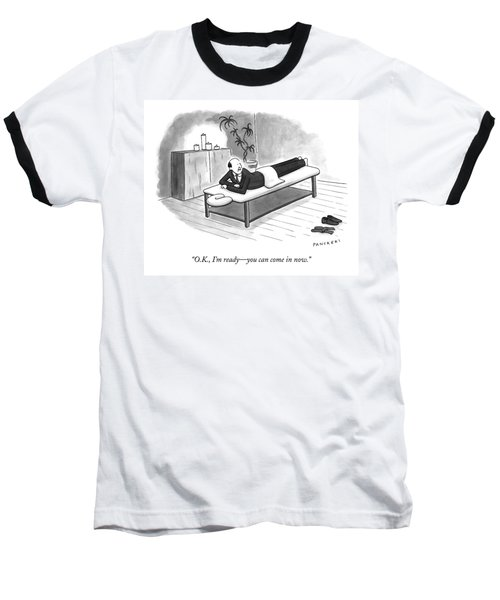 A Man In A Suit Lays On A Massage Table Baseball T-Shirt