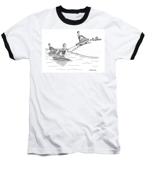 A Man On A Jetski Looks At Another Man Baseball T-Shirt